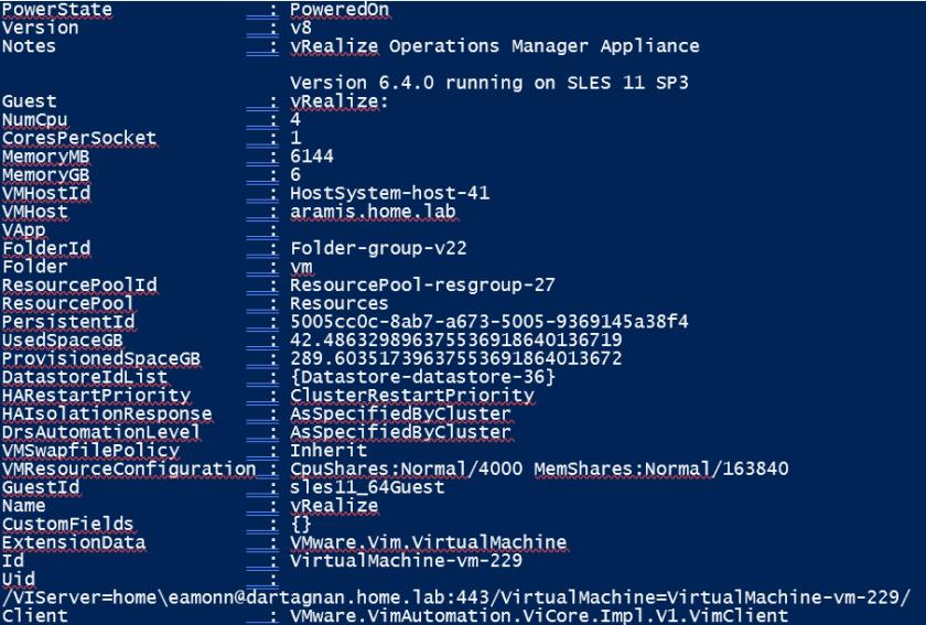 vRA deployment output