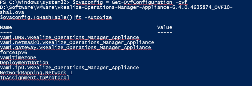 vRealize OVA Parameters